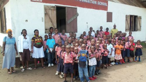 A cross-section of the kids and the staff on the first day of school