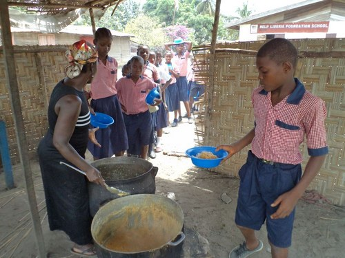 Kids receiving food