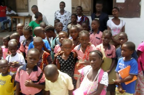 Cross-section of kids and staff on the first day of school