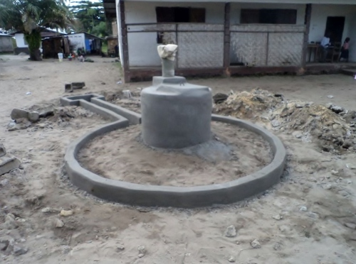The pump in front of the school