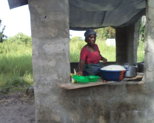 The kitchen with tarpaulin  on top of it