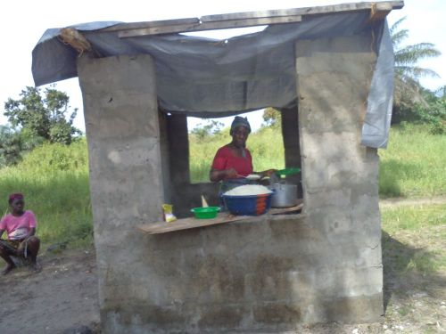 Kitchen with tarpaulin