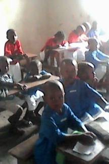 Kindergarten students in class at the school