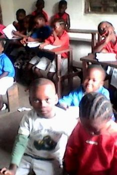 Kindergarten students in class