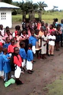 Students in line during morning devotion at the school