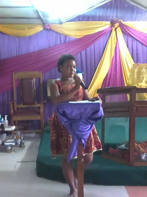 The guest speaker, Madam Mardea B. Remmie, speaking to the students