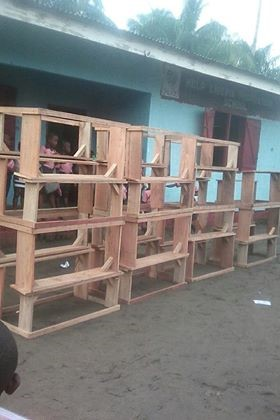 A display of the desks